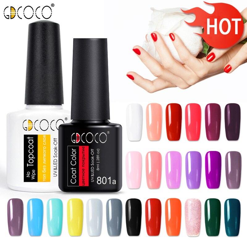 GDCOCO soak off Base Gel Top Coat Matte Top Gel polish Nail Gel lacquer 8 ml manicure wholesale long lasting Nail color gel(China)