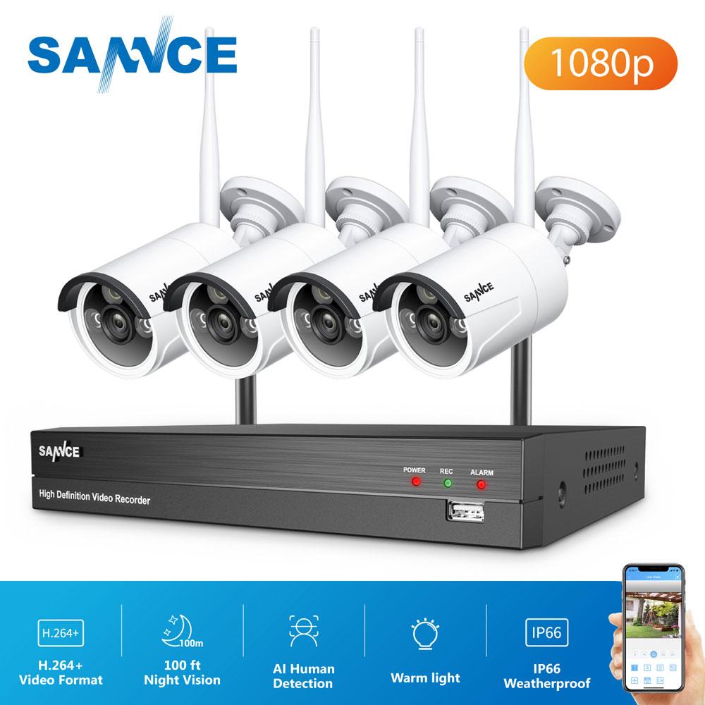 SANNCE-Kit de videovigilancia inalámbrico de 8 canales 1080P 1TB HDD NVR, sistema de seguridad inteligente IR, cámara IP de 2MP, juegos de seguridad CCTV para exteriores