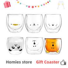 Glass Mugs Double Wall Glass mug, Bear cat dog animal Double-layer glass mug Coffee Cup, Christmas mug gift ,cute Tea Milk Cup