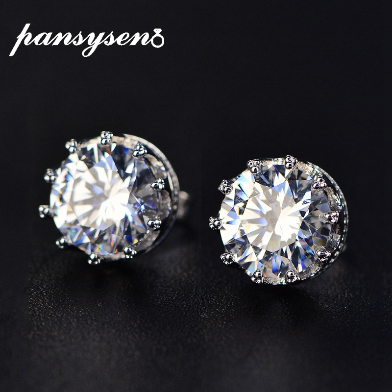 PANSYSEN Top Quality 8MM Round Created Moissanite Women Stud Earrings 925 Sterling Silver Earrings Fine Jewelry Wedding Gifts