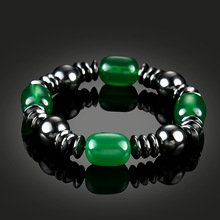 NJ Green Nature Lodestone Woman Beaded Bracelet Magnetic Charm Strand Jewelry Therapy Handmade Accessories Gift Good for Heathy