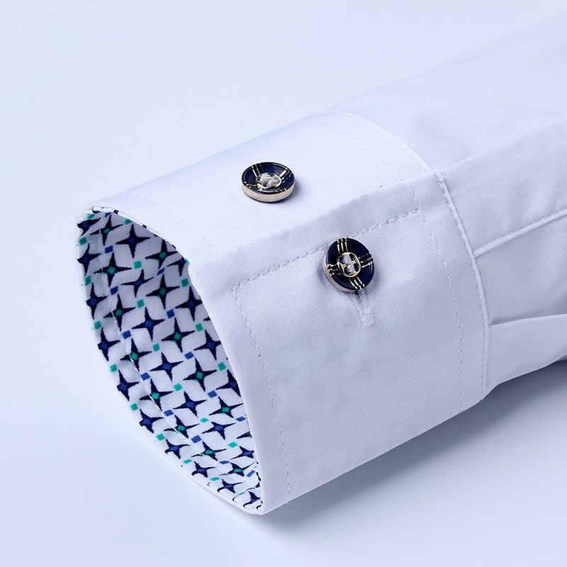 BROWON גברים חולצה עסקי 2019 סתיו למתוח חולצה גברים קרדיגן ארוך שרוולים תורו למטה צווארון חולצה חברתית מוצק חתונה חולצה