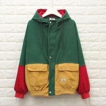 Women Unisex Color Block Patchwork Corduroy Hooded Jacket Hip Hop Coat Oversized hooded color block ribbed coat