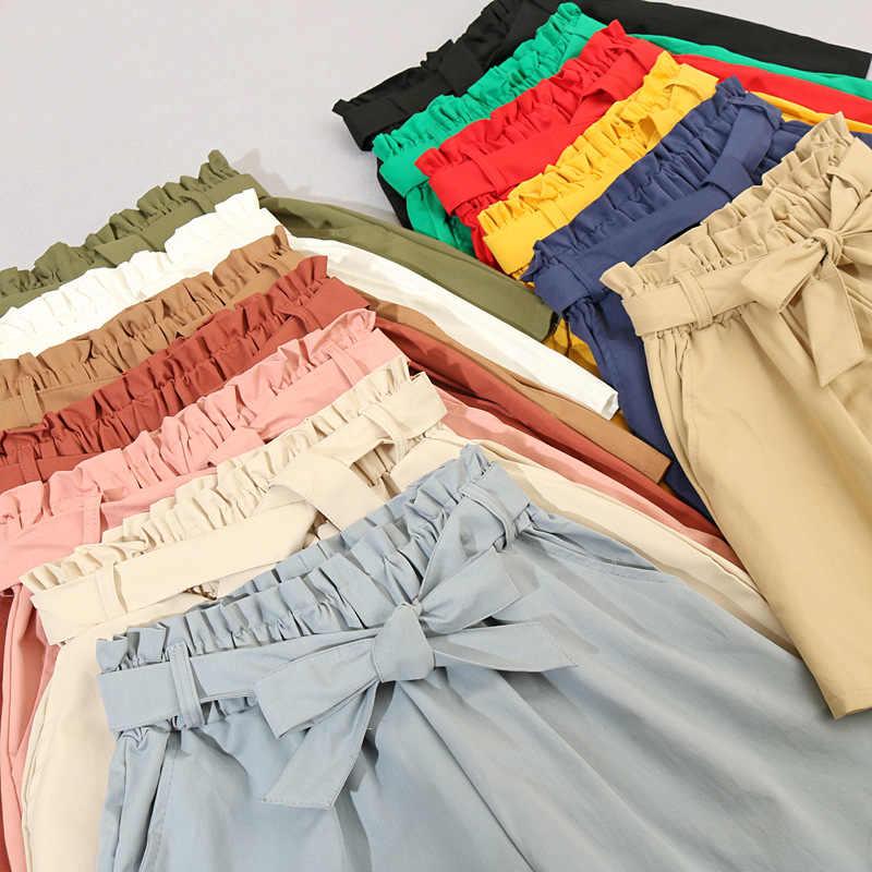 Hot Elastico In vita del legame di arco Allentato Cotone shorts Delle Donne 2020 di estate nuovo Coreano ruffles gamba larga shorts per le donne selvaggio casual Shorts