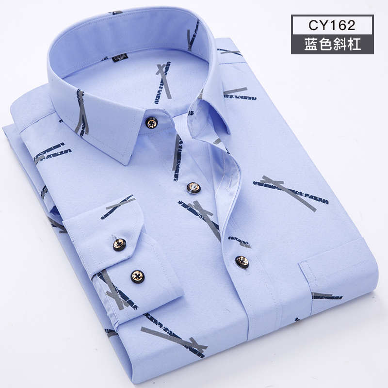 Men Shirt Long Sleeve Floral Printing Plaid Fashion Pocket Casual Shirts 100% Polyester Soft Comfortable Men Dress Shirt DS375 20