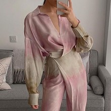 Ardm moda tie dye blusa feminina 2021 v pescoço manga gota camisa casual sid split solto topo femme vintage oversized blusas mujer