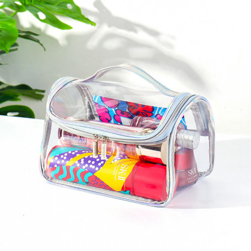 Transparent Cosmetic Bag Simple Waterproof Pvc Large Capacity Cylindrical Wash Bag Multifunctional Portable Storage Bag