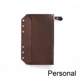 Image 2 - Genuine Leather Zipper Bag For Personal Rings Notebook 6 Hole Card Pocker Storage 170x110mm For Planner Organizer Sketchbook