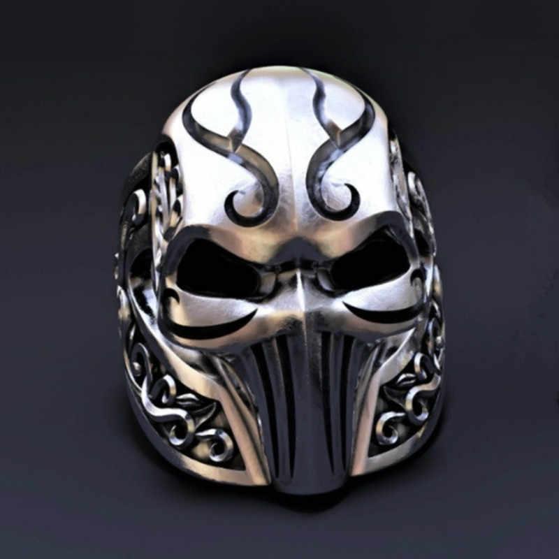 Middeleeuwse Ridder Ring Voor Mannen Gothic Rvs Antiek Masker Ring Fashion Party Sieraden