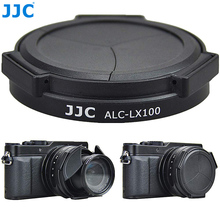 JJC Noir Argent Auto Lens Cap pour Panasonic LUMIX DMC LX100 et LEICA D LUX (Typ 109) Caméra