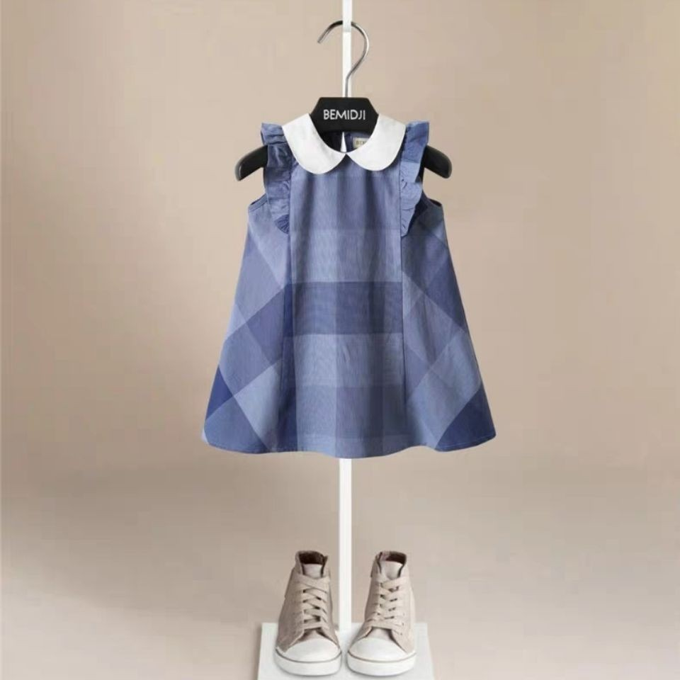 Baby Girls Dresses Classical Plaid Kids Dress For Girl Summer Sleeveless Cute Toddler Baby New Arrival For Girl Backless Clothes
