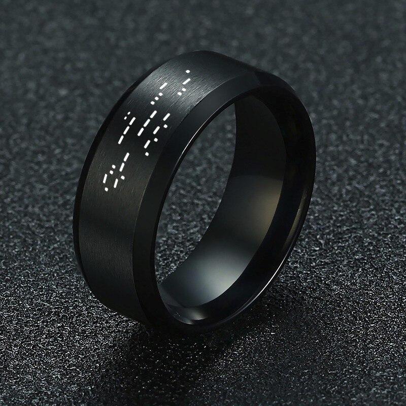 ICH Liebe Sie Morse Code Herren Ring Edelstahl Versteckte Nachricht Geheimnis Nachricht Hochzeit Band Versprechen Ringe