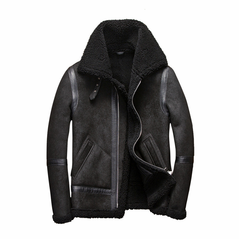 Real Fur Coat Men Plus Size Wool Jacket Short Motorcycle Sheep Shearing Winter Coat For Mens Clothing Veste Homme 5262 YY747