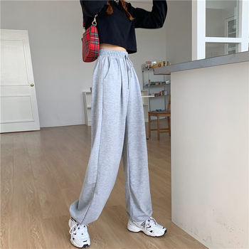 Gray Sweatpants for Women 2021 Autumn New Baggy Fashion Oversize Women Sports Pants Balck Trousers Joggers Streetwear 6