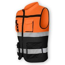 Multi pockets High Visibility Zipper Front Safety Vest with Reflective Strips Dropshipping