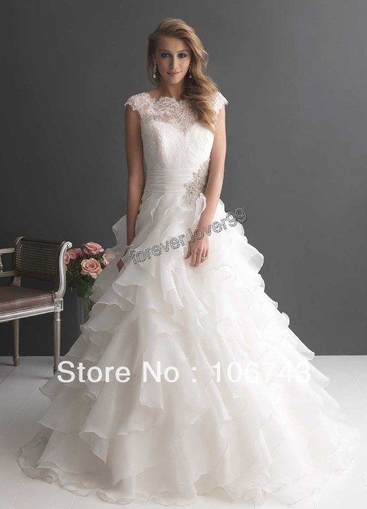 Dress Free Shipping 2016 So Romantic White Lace Organza Tiered Wedding Dress Bridal Gown Ball Cap Sleeves
