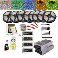 20M 25M 30M 40M 5050 RGB RGBW 60LED/M Led Strip + 4 Zone Mi Light RGB RGBW Remote Controller+12V LED Power