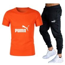 2021 dos homens quentes conjuntos de camisas t + calças duas peças define casual treino masculino esportes marca terno imprimir topos + calças de fitness ginásios
