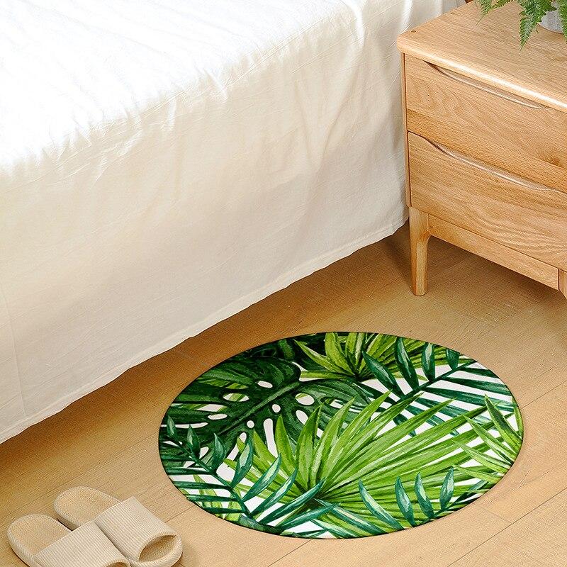 Cilected Round Carpet Living Room Green Tropical Plant Print Bedroom Chair Carpet Bathroom Decoration Slip Door Mat 1PC