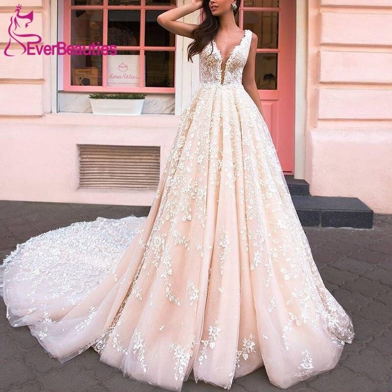 Vestido De Noiva Wedding Dresses 2020 Tulle Lace Appliques Long Train Luxury Robe De Mariee Bridal Gown