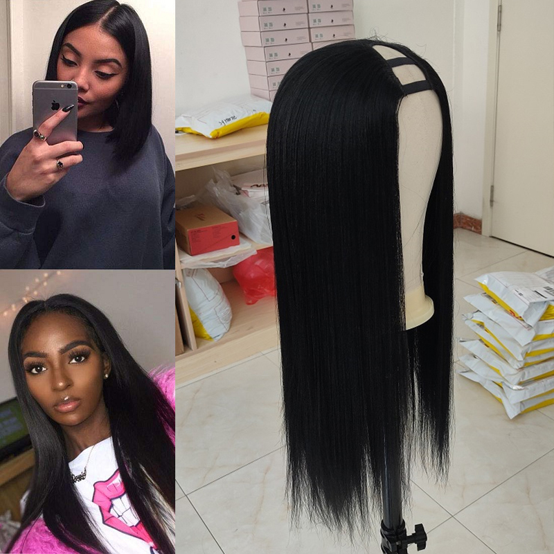 U Part Wig Human Hair Wigs Brazilian Remy Yaki Straight Hair 180 250 Density Glueless Wig Pre Plucked For Women 8-24 Inch 7 Comb