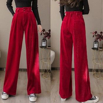Vintage OL Oficina carrera Capris pantalones de trabajo de terciopelo pantalones de pierna ancha de las mujeres de alta cintura suelta Pantalones rectos mujeres pantalones Casuales