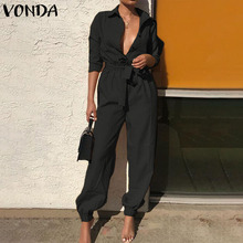 VONDA Sexy Overalls Rompers Womens Jumpsuits 2021 Autumn Pants Casual Vintage Deep V Neck Long Sleeve Party Playsuits Plus Size