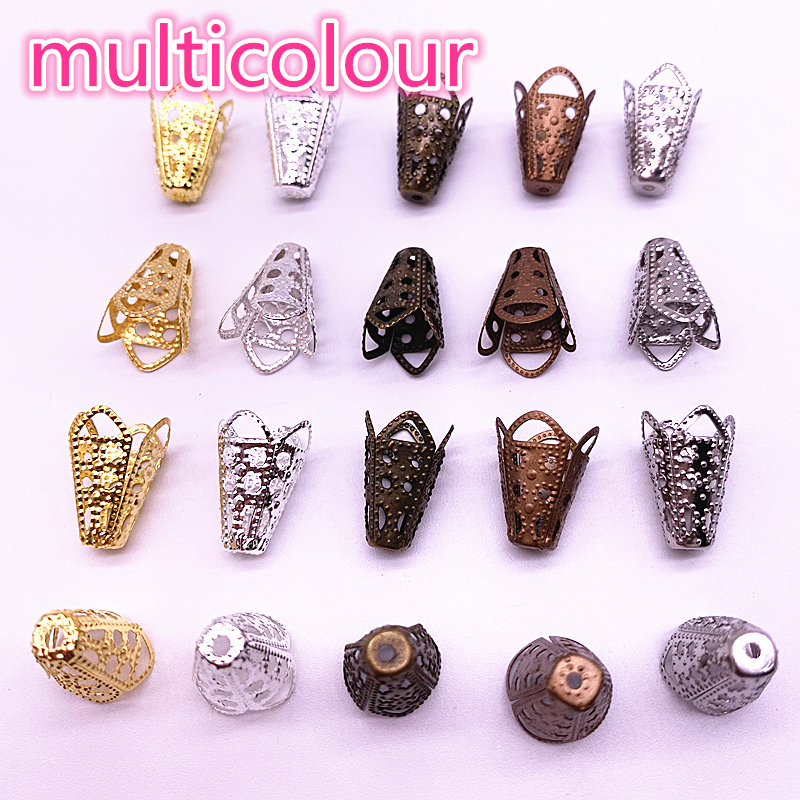 Wholesale 50pcs 11*16mm Hollow Flower Findings Cone End Beads Cap Filigree DIY Jewelry Making #06