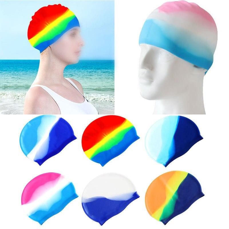 Gorros de natación de silicona impermeables para adultos, gran tamaño, colores caramelo, novedad