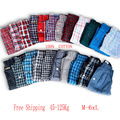 4PCS Boxers Shorts Mens Underwear Casual Cotton Sleep Underpants Quality Plaid Loose Comfortable Homewear Striped Arrow Panties