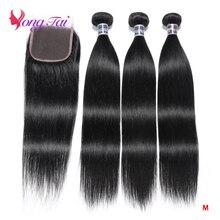 Yuyongtai indiano pacotes retos com 4x4 fechamento do laço cabelo humano 3 pacotes com fechamento não remy extensões de cabelo médio relação