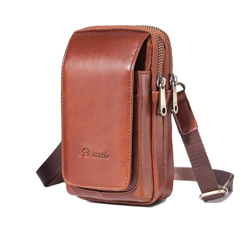 Genuine Leather Fanny Pack Hip Belt Bum Men Waist Hook Pocket Cell/Mobile Phone Cover Case Bags Small Shoulder Crossbody Bags
