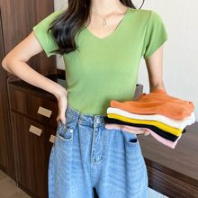 Knitted Tee Shirt Short Sleeve Sweater Female 2021 Summer New Woman Pullover Small V-Neck Top T-Shirt Solid Cotton Tops Women