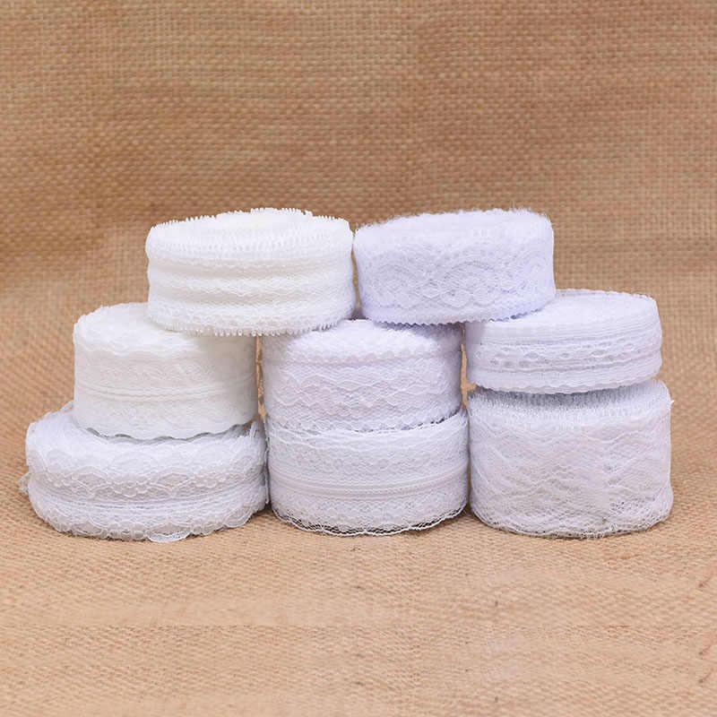 10yard Pizzo Bianco Rotolo di Nastro di Tessuto di Pizzo Trim Per La Cerimonia Nuziale Di Compleanno Decor FAI DA TE Abbigliamento Accessori Per il Cucito Gift Wrapping Forniture