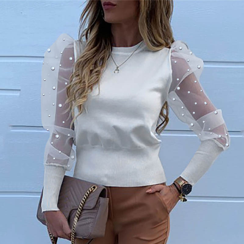 Clearance SaleSheer Blouse White Shirt See-Through-Puff Mesh Autumn Tops Pearl Blusas Long-Sleeve Transparent