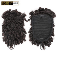 Morichy Kinky Curl Chignon Bun Non Remy Hair Brazilian Short Ponytails Clip In Human Hair Extensions Natural Color For Woman