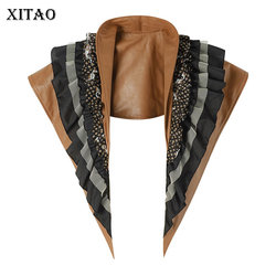 XITAO Leather Multi Layer Versatile Artifact Mock Collar Cape 2020 Spring Summer Ruffle Patchwork Irregular Ties DMY3897