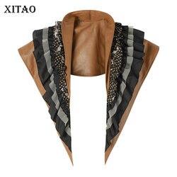 XITAO Leder Multi Schicht Vielseitig Artefakt Mock Kragen Cape 2020 Frühling Sommer Rüschen Patchwork Unregelmäßigen Krawatten DMY3897
