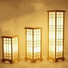 Современные японские торшеры в стиле татами квадратной формы, деревянный светодиодный напольный светильник для спальни, стоячие лампы для гостиной, высокая лампа E27