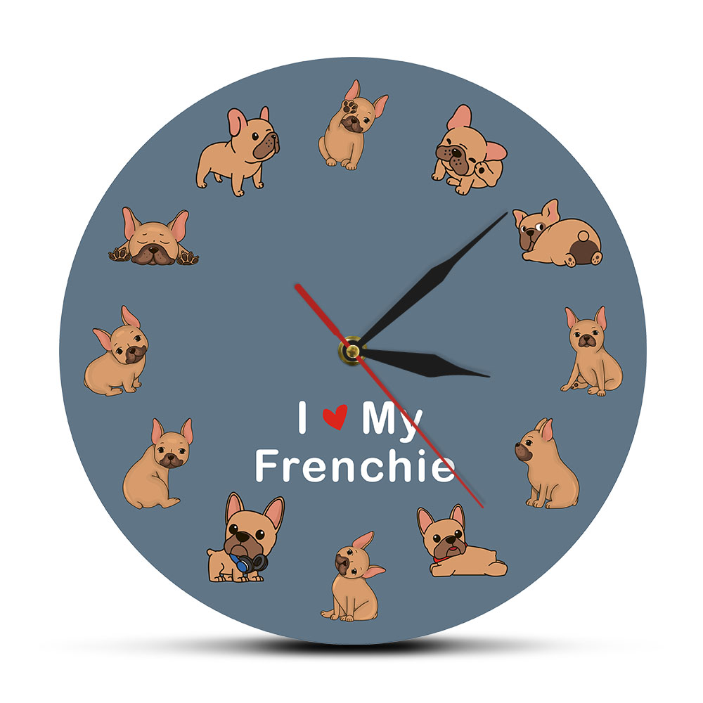 I Love My Frenchie Printed Wall Clock French Bulldog Puppy Dog Watch Pet Shop Silent Quartz Zegar Scienny Animal Lover Vet Gift
