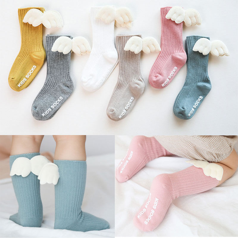 Baby Girls Knee High Socks  Angel Wing  Summer Autumn Cotton Socks Solid Candy Color Kids Toddler  Short Socks For Children