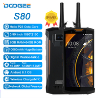 DOOGEE S80 IP68/IP69K Walkie Talkie 10080mAh Mobile Phone Wireless Charge NFC 12V2A 5.99 FHD Helio P23 Octa Core 6GB 64GB 16.0MP
