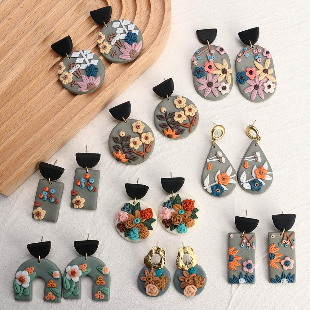 AENSOA New Unique Design Flower Polymer Clay Earrings for Women 2020 Statement Geometric Clay Drop Earrings Fashion Jewelry