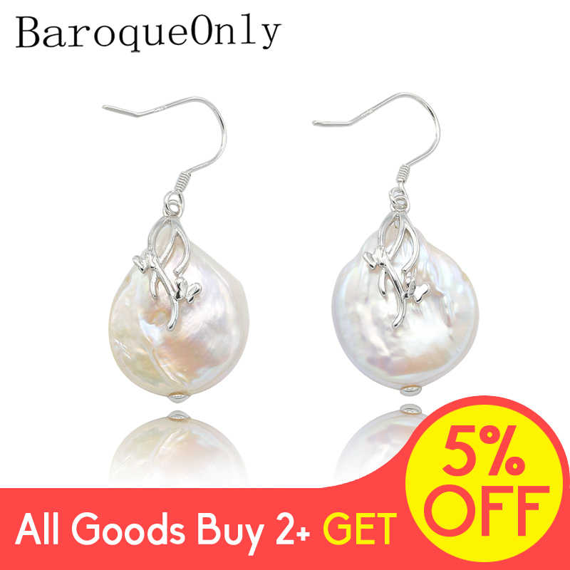 BaroqueOnly baroque natural freshwater pearl pendant necklace AAA Zircon Jewelry 17-19mm 925 silver sterling 2019 new arrival
