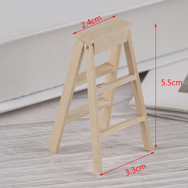 1Pc Mini Wooden Step Ladder Fairy Garden Miniatures DIY Dollhouse Miniatures DU