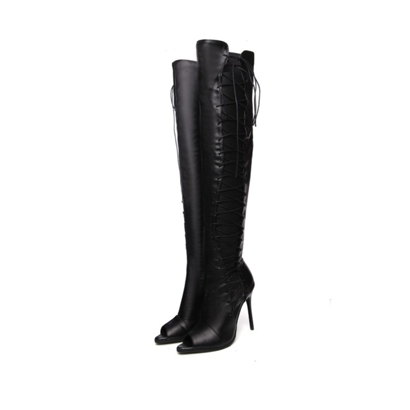 Spring Hollow Lace Up Thigh High Boots