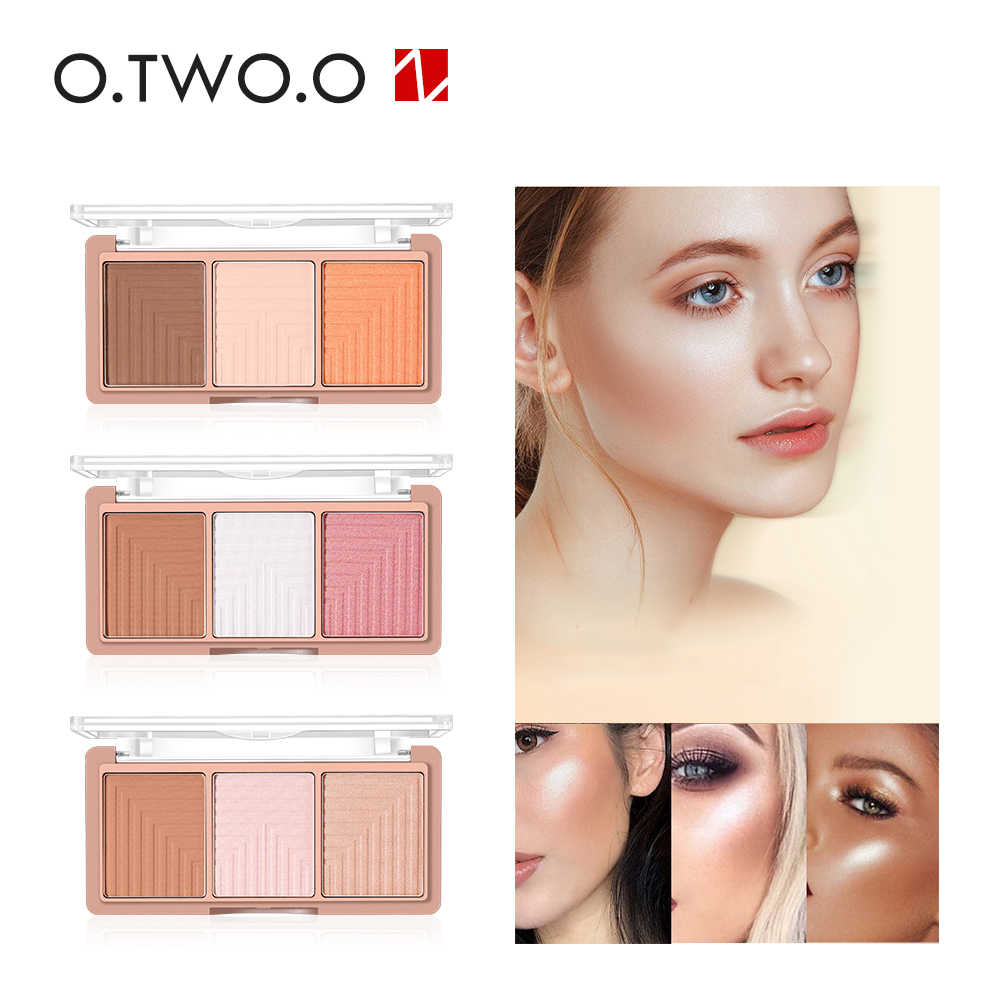 O. 2. O 9117 3 สี Blush Palette 3D Face Contour Highlighter แรเงาผงแต่งหน้า High GLOSS แป้ง