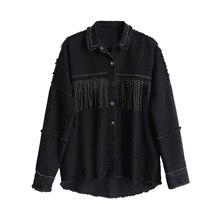 Women Black Loose Denim Jacket Coat Sequined Tassels Streetwear All-match Mental
