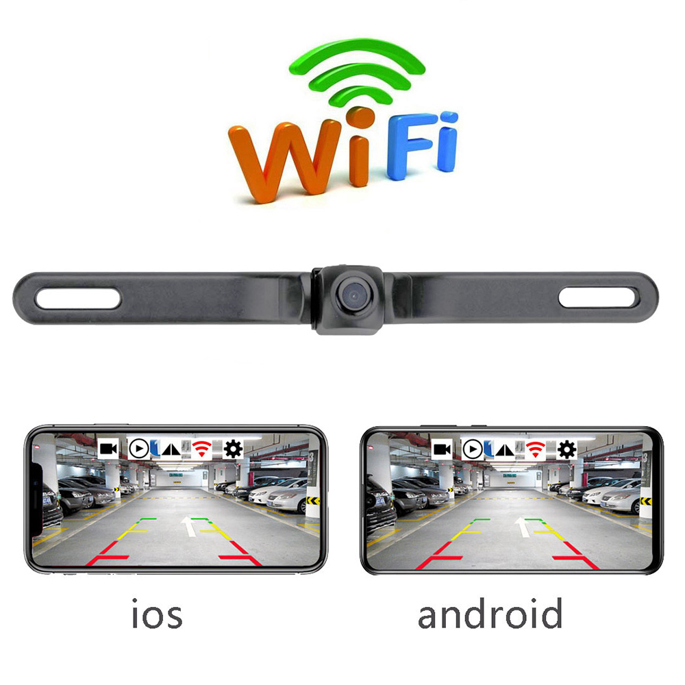 HD Rearview Camera Waterproof License Plate WIFI Back Up Camera Vehicle Auto Car Reverse Backup Parking Night Vision