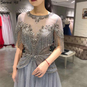 Image 1 - Dubai Grey O Neck Tassel Beading Evening Dresses 2020 Short Sleeves Luxury Sexy A Line Formal Dress Serene Hill LA70448
